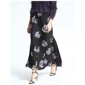 Banana republic black floral maxi skirt with